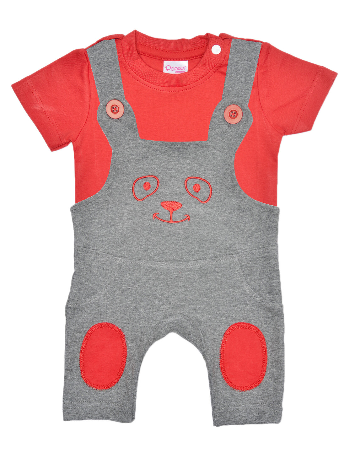 Pepson Red Short Sleeves Round Neck T-shirt with Dungaree