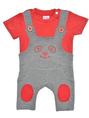 ​Pepson Red ​Short Sleeves Round Neck T-shirt with Dungaree​