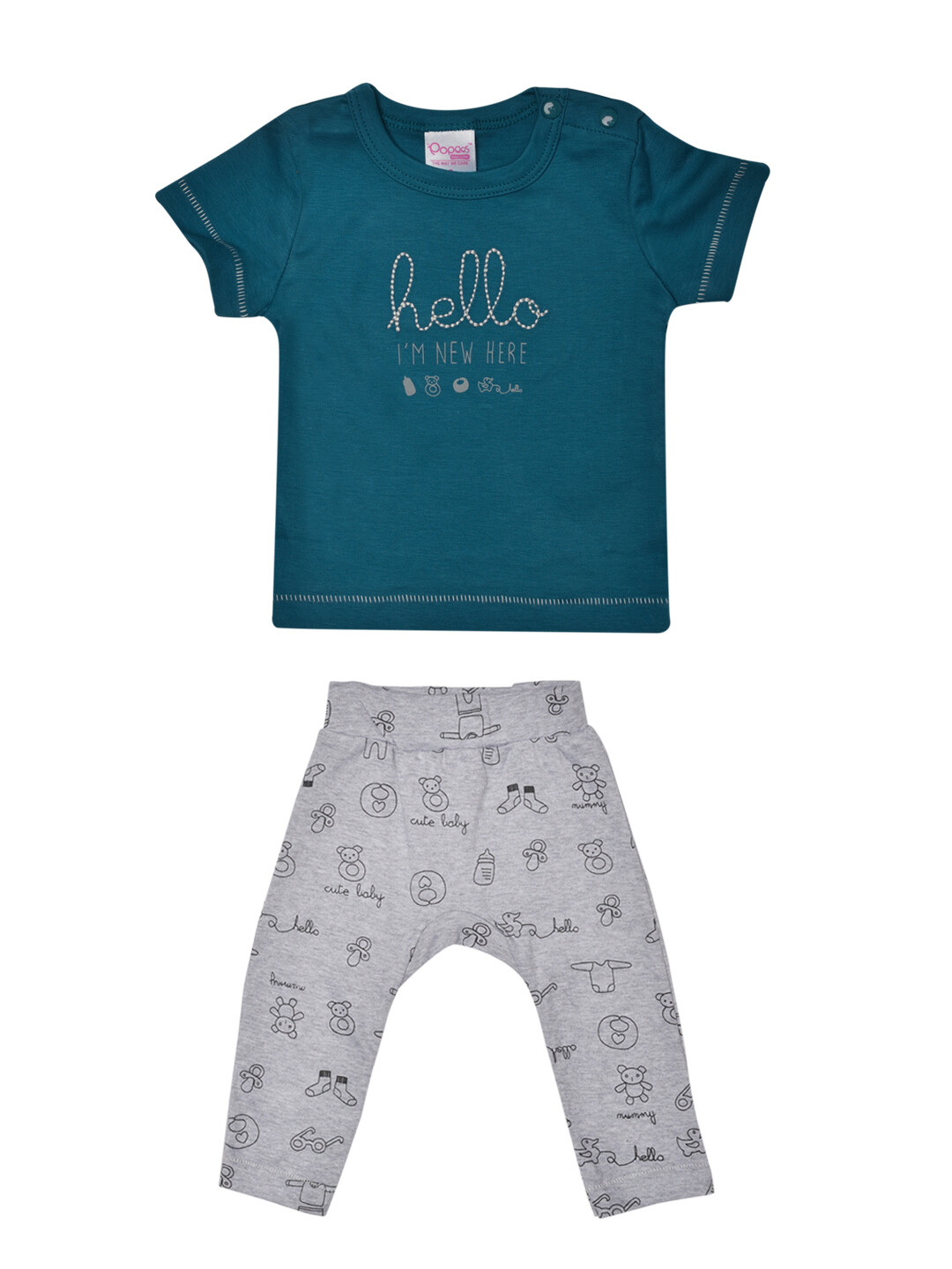Qubee Celestial Blue Half Sleeves Round Neck T-Shirt with Printed Lounge Pant