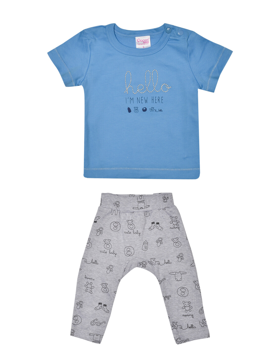 Qubee Dark Blue Half Sleeves Round Neck T-Shirt with Printed Lounge Pant