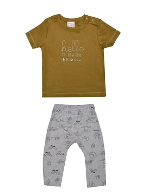 ​Qubee Dull Gold Half Sleeves Round Neck T-Shirt with Printed Lounge Pant​