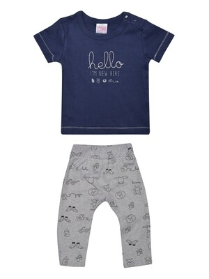 ​Qubee Navy Blue Half Sleeves Round Neck T-Shirt with Printed Lounge Pant​