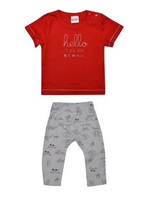 Qubee Red Half Sleeves Round Neck T-Shirt with Printed Lounge Pant