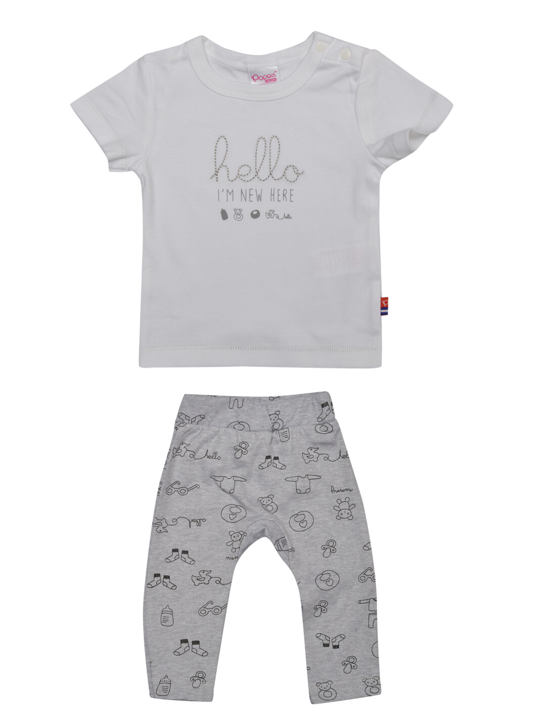 Qubee White Half Sleeves Round Neck T-Shirt with Printed Lounge Pant