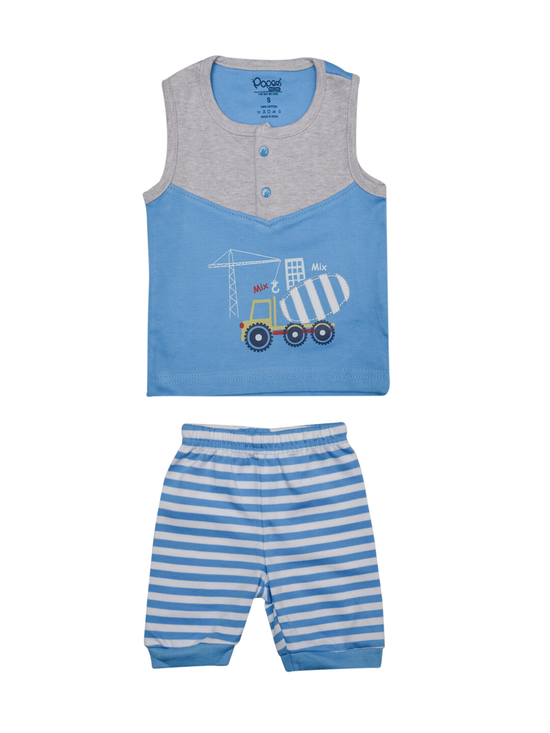 Walker Dark Blue Sleeveless Round Neck Printed T-Shirt with Stripped Pant