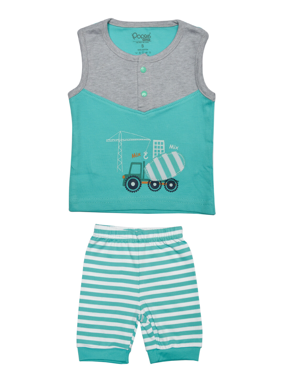 Walker Dark Green Sleeveless Round Neck Printed T-Shirt with Stripped Pant
