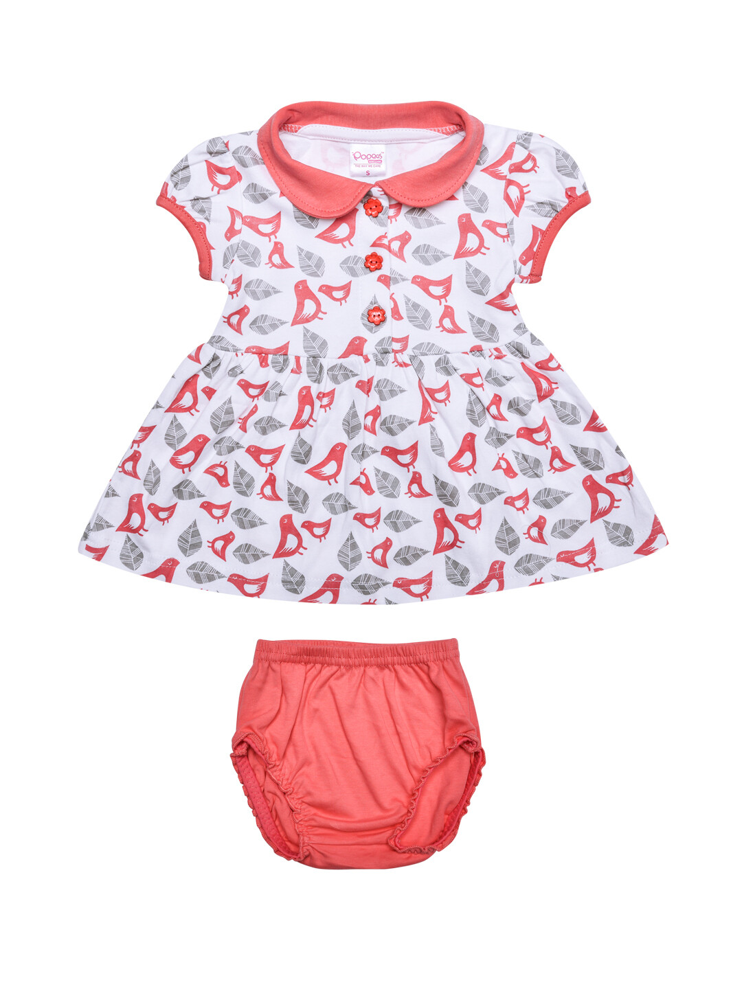 Amya Corel Half Sleeve Bird Print Frock with Bloomer