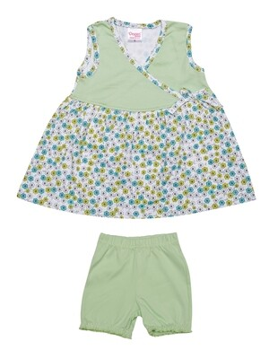 Donut Pastel Green Sleeveless Frock with Bloomer