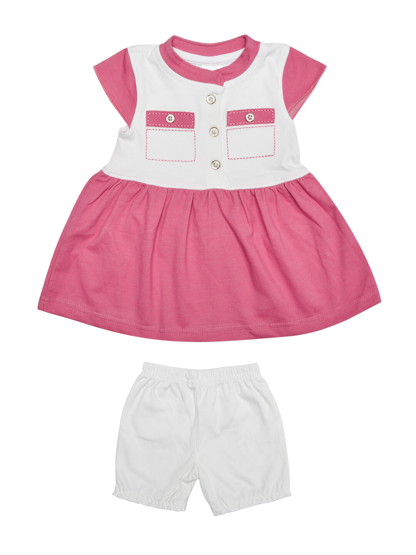 Ekta Azalea Pink Baby Girls Half Sleeves Frock with Bloomer