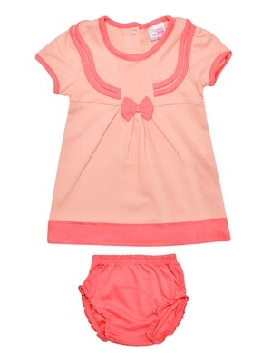 Limora Peach Blush Baby Girls Bow Design Frock with Bloomer