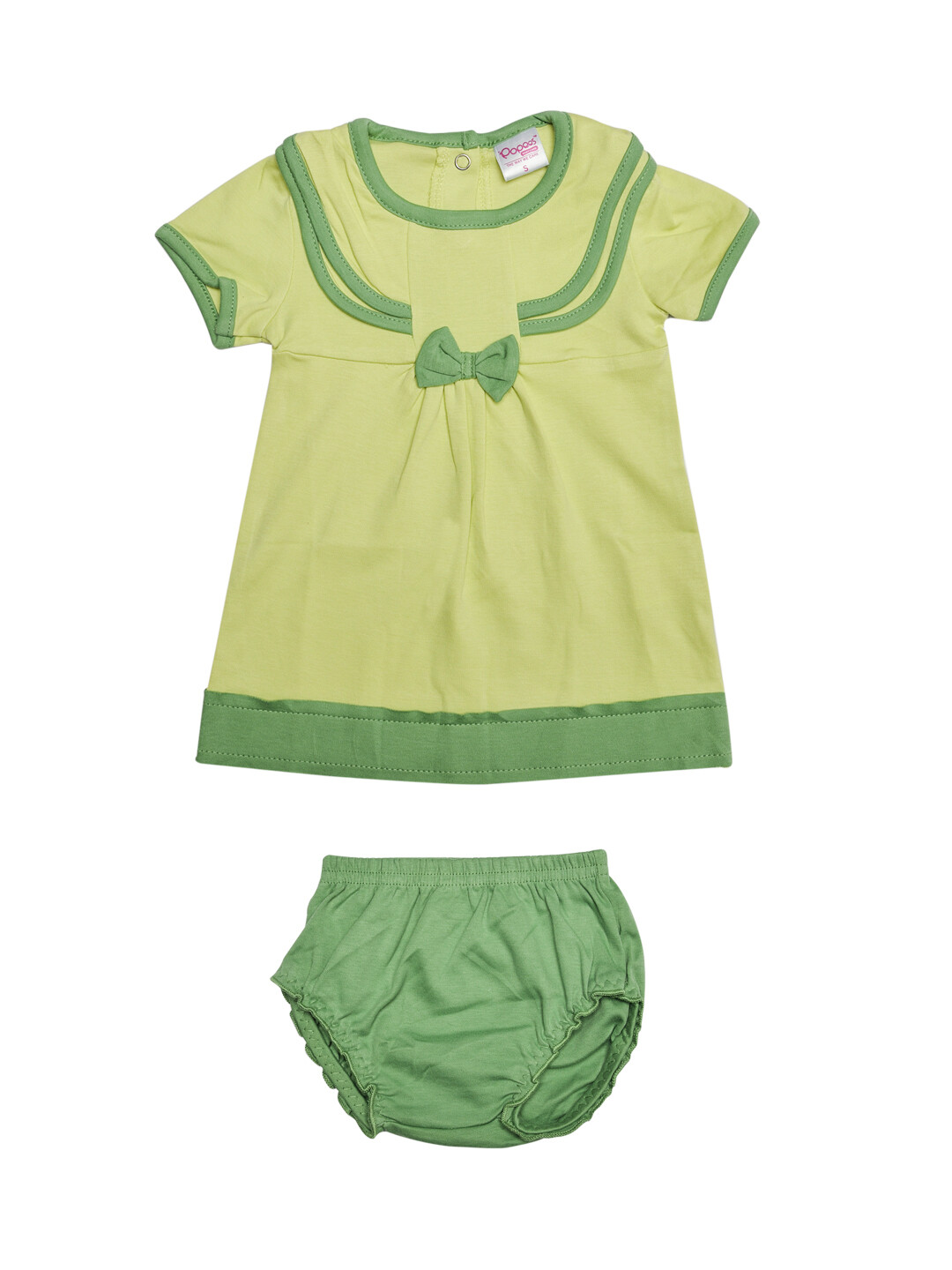 Limora Shadow Lime Baby Girls Bow Design Frock with Bloomer