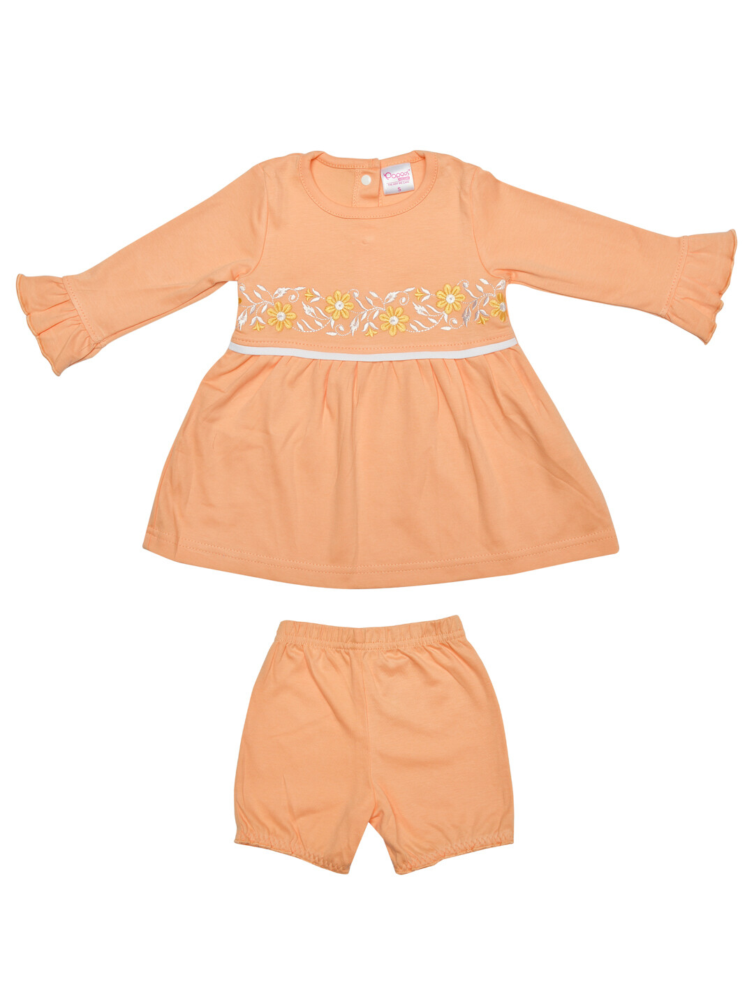 Lorena Apricot Ice Full Sleeves Flower Embroidered Top with Shorts for Girls M (6-12 Months)