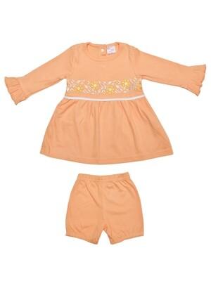 Lorena Apricot Ice Full Sleeves Flower Embroidered Top with Shorts for Girls