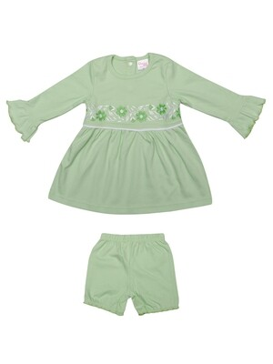 Lorena Pastel Green Full Sleeves Flower Embroidered Top with Shorts