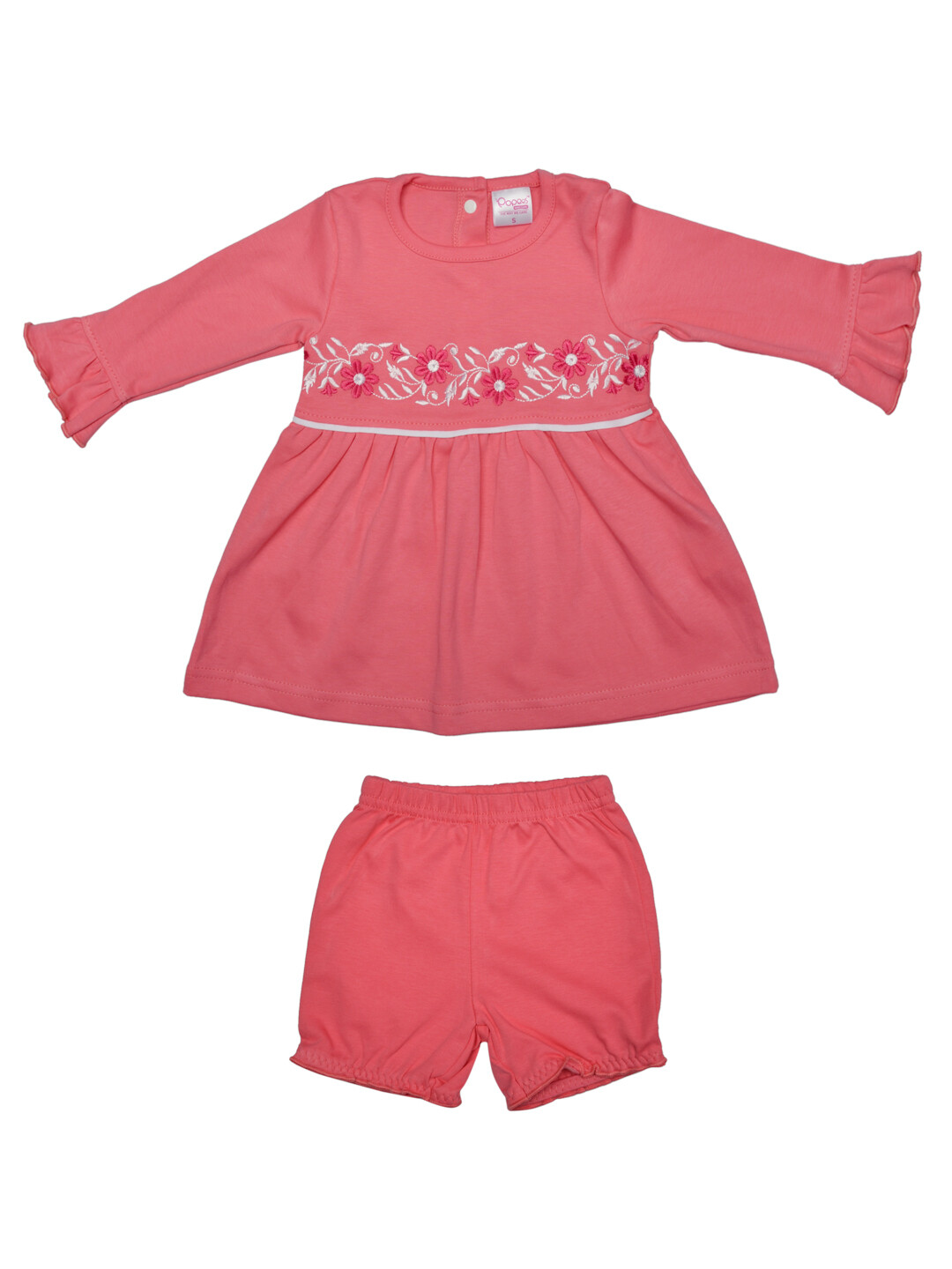 Lorena Corel Full Sleeves Flower Embroidered Top with Shorts M (6-12 Months)