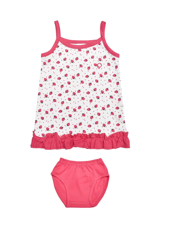 Lovel Fuchsia Strappy Sleeveless Strawberry Design Frock