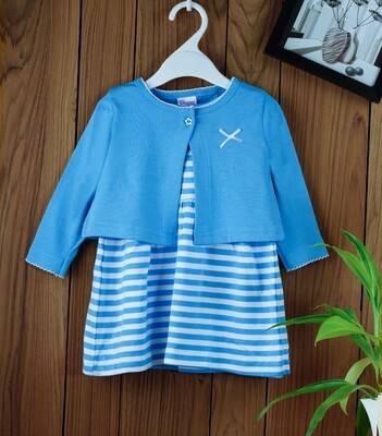 Dokie Blue Striped Frock with Full Sleeves Shrug and Bloomer