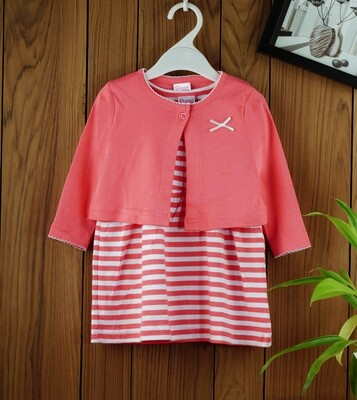 Dokie Coral Striped Frock with Full Sleeves Shrug and Bloomer