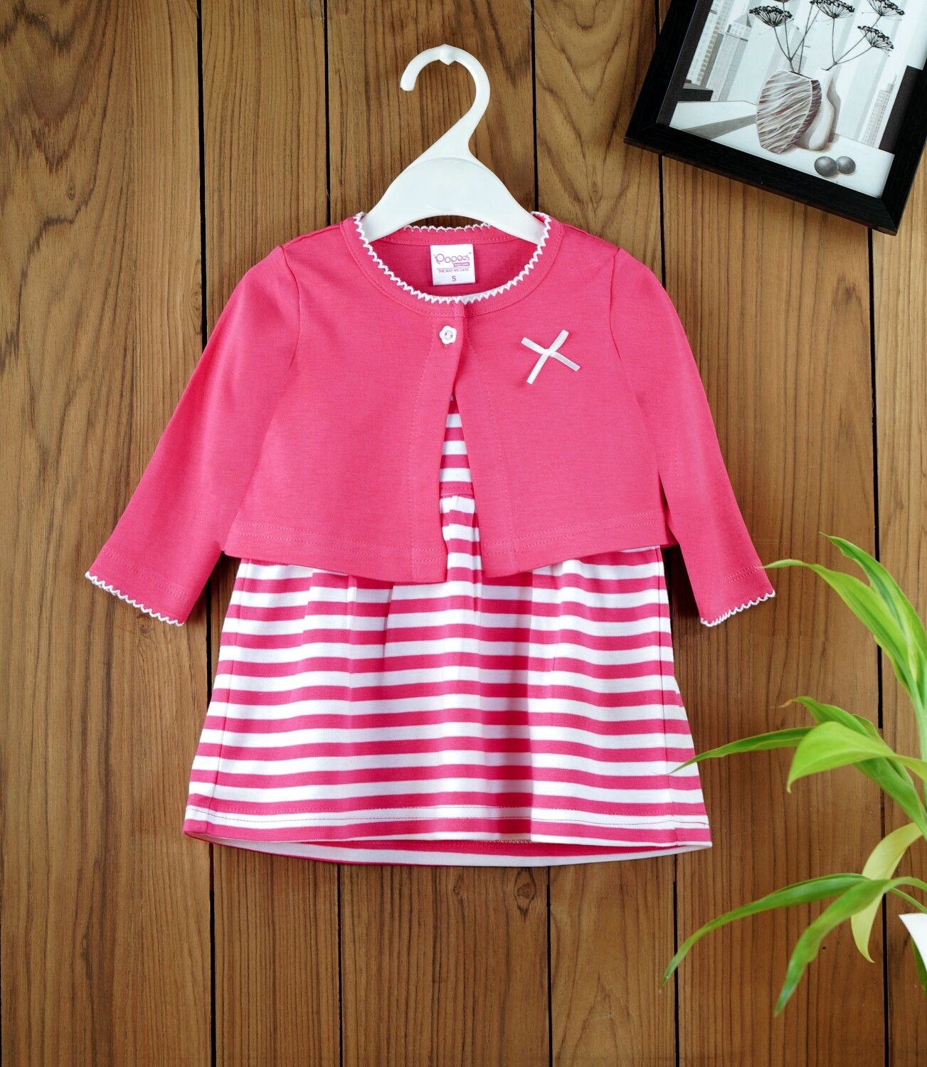 Dokie Fuchsia Striped Frock with Full Sleeves Shrug and Bloomer