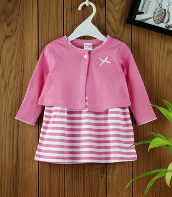Dokie Pink Striped Frock with Full Sleeves Shrug and Bloomer