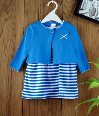 Dokie Royal Blue Striped Frock with Full Sleeves Shrug and Bloomer