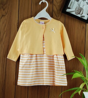 Dokie Yellow Striped Frock with Full Sleeves Shrug and Bloomer
