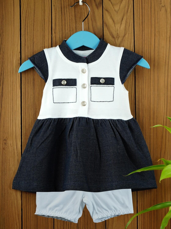 Ekta Blue Baby Girls Half Sleeves Frock with Bloomer