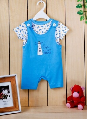 Gloco Dark Blue Half Sleeves Dungaree with Top for boys