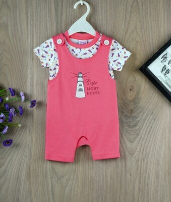 ​Gloco Coral Half Sleeves Dungaree with Top for boys