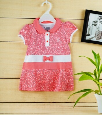 Agnus Coral Half Sleeve Frock with Bloomer XXL (24-30 Months)