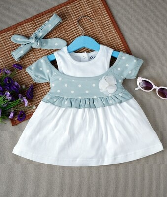 Windi Silver Blue Half Sleeves Frock with Bloomer and Headband for Baby Girls
