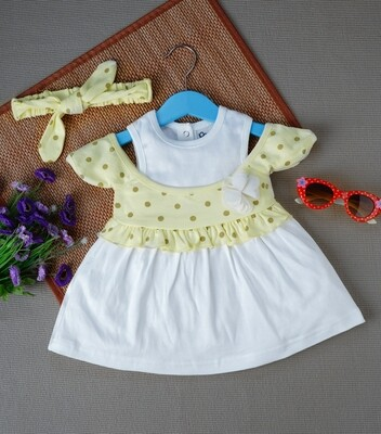 Windi Tender Yellow Half Sleeves Frock with Bloomer and Headband for Baby Girls