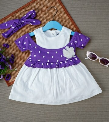 Windi Lavender Half Sleeves Frock with Bloomer and Headband for Baby Girls