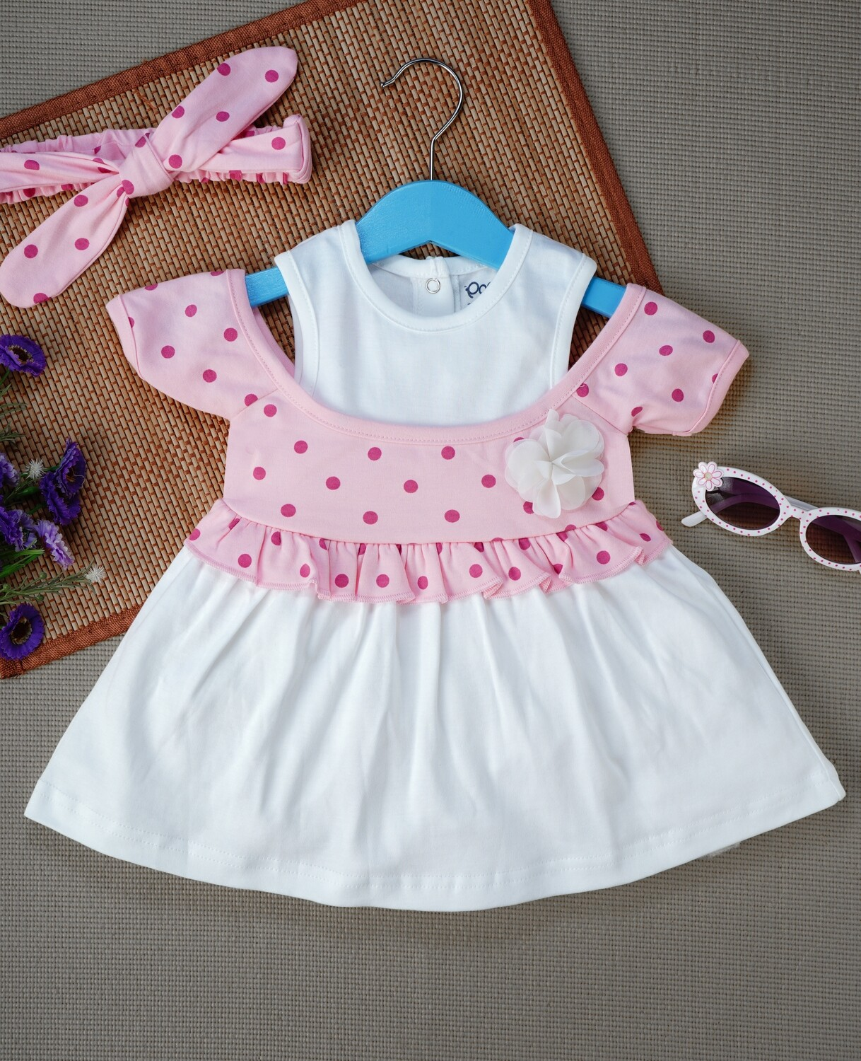 Windi Rose Half Sleeves Frock with Bloomer and Headband for Baby Girls