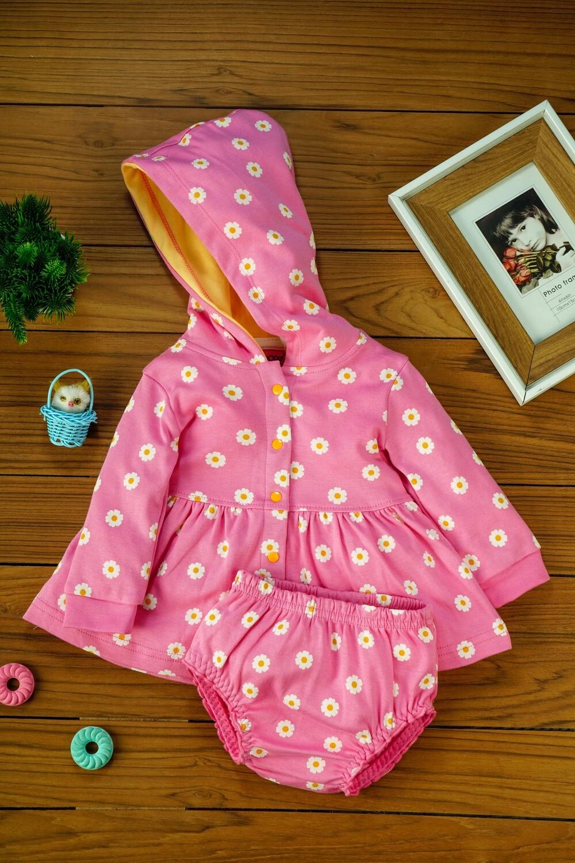 Biugo Azalea Pink Baby Girl Frock with Cap & Bloomer