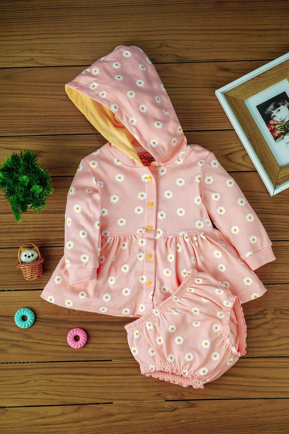 Biugo Peach Baby Girl Frock with Cap & Bloomer