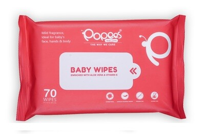 Antibacterial Baby Wipes with Enriched Aloe Vera & Vitamin E (70 Wipes)