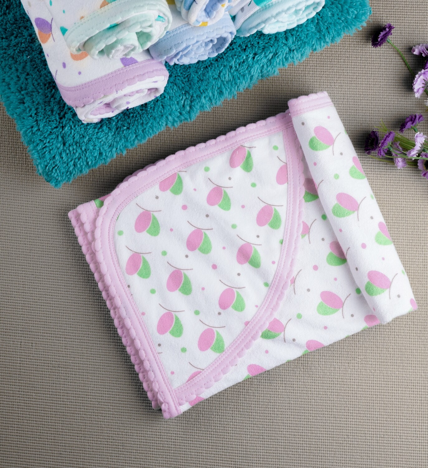Lucia Rose 100% Combed Cotton Hooded Towel with Print for Babies (71x71 CM)
