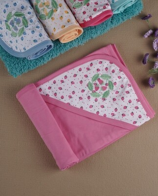 Stobi Azalea Pink 100% Combed Cotton Hooded Towel with Print for Babies (71x71 CM)