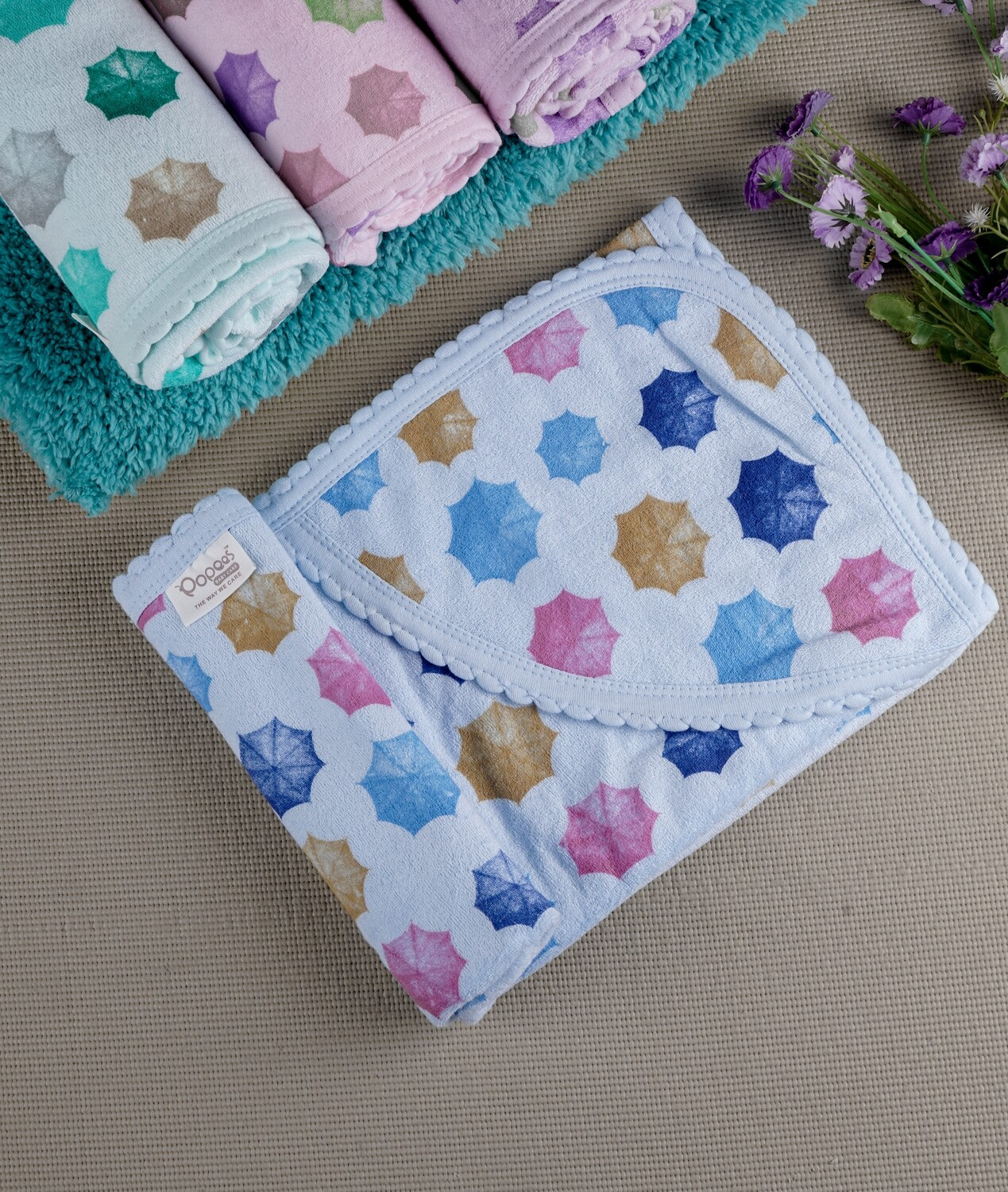 Cam Blue 100% Combed Cotton Hooded Towel with Print for Babies (71x71 CM)
