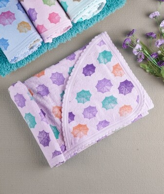 Cam Orchid Bouquet 100% Combed Cotton Hooded Towel with Print for Babies (71x71 CM)