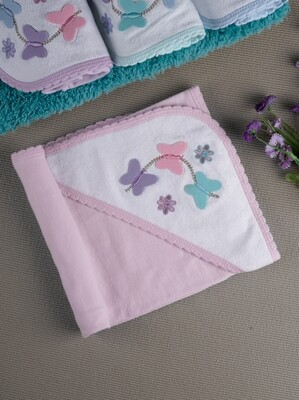 Papilon Rose 100% Combed Cotton Hooded Towel with Butterfly Design for Babies (71x71 CM)