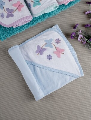 Papilon Blue 100% Combed Cotton Hooded Towel with Butterfly Design for Babies (71x71 CM)