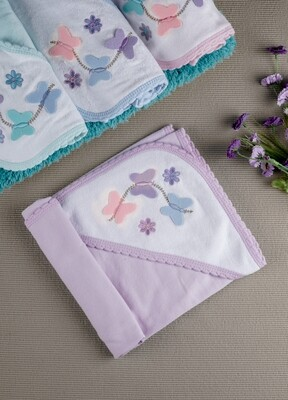 Papilon Orchid Bouquet 100% Combed Cotton Hooded Towel with Butterfly Design for Babies (71x71 CM)
