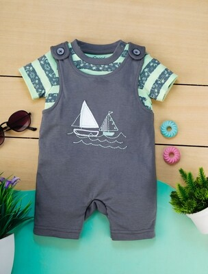 Butor Gray Cotton Dungaree with Green Striped Half Sleeve T-Shirt For Boys