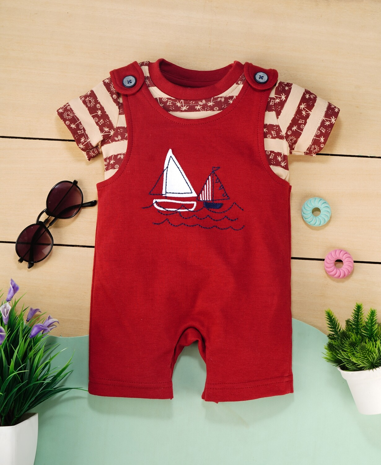 Butor Red Cotton Dungaree with Beige Striped Half sleeve T-shirt For Boys