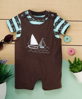 Butor Dark Brown Cotton Dungaree with Blue Striped Half Sleeve T-Shirt For Boys