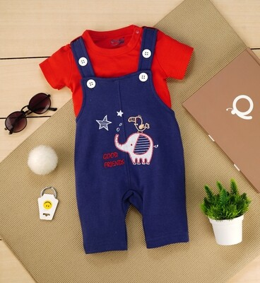 Gamer Dark Blue Cotton Dungaree with Red T-shirt for Boys