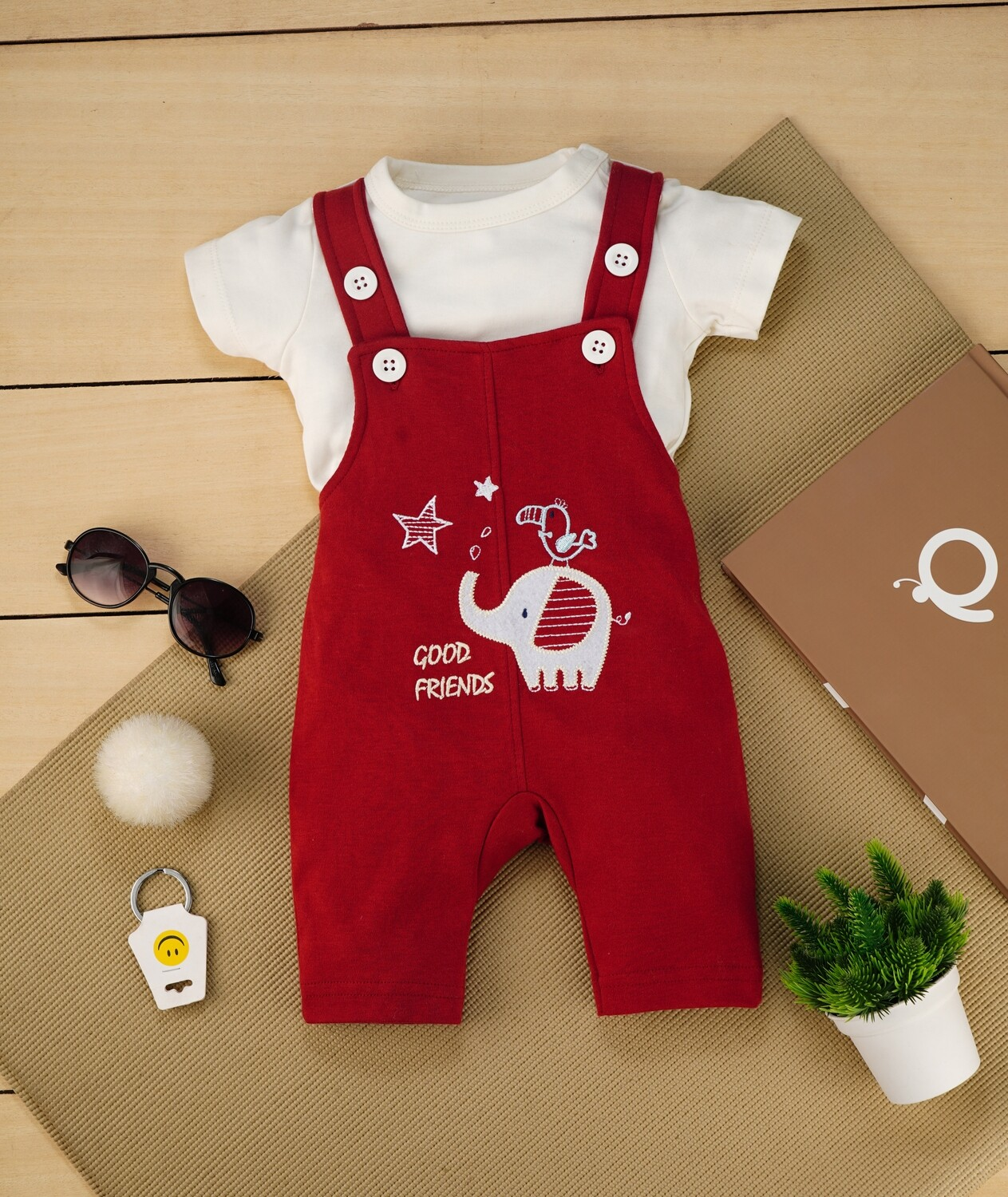 Gamer Garnet Red Cotton Dungaree with Ivory  Half sleeve T-shirt For Boys