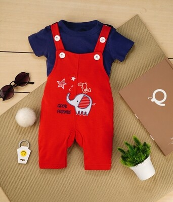Gamer Red Cotton Dungaree with Dark Blue Half Sleeve T-shirt For Boys